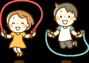 縄跳びで運動